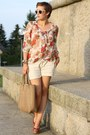 Brown-hallhuber-bag-tan-linen-shorts-ruby-red-floral-primark-blouse