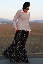 black AX Paris skirt - black sendra boots - periwinkle Pimkie sweater