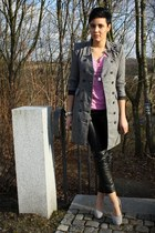 heather gray ohmyfrock coat - bubble gum H&M shirt - black leather pants 3 suiss