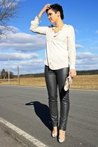 peach foral Primark bag - ivory Mangoo blouse - charcoal gray leather pants 3 su