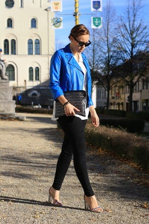 blue leather noname jacket - black BonPrix bag - white H&M blouse