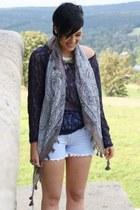 silver Hallhuber scarf - gray boots - navy Primark shirt
