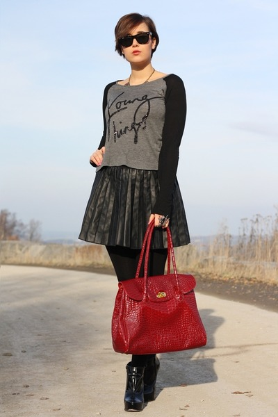 lucia tommasi bag - Buffalo boots - Sheinside shirt - leather Primark skirt