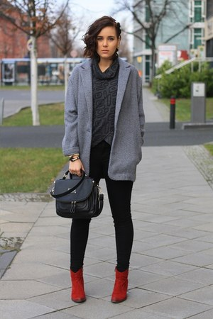 ruby red Tamaris boots - heather gray Primark coat - black pants