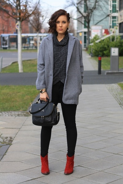 heather gray Primark coat - ruby red Tamaris boots - black pants