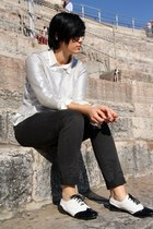 black phixclothing flats - silver H&M sweater - black Mexx pants