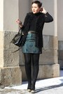 Black-bag-turquoise-blue-skirt-black-fake-fur-new-yorker-vest-black-heels