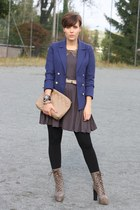 H&M blazer - Lundberg boots - vintage dress - Hallhuber bag