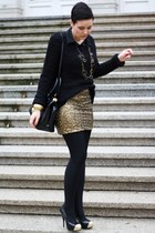 gold sequined H&M skirt - black New Yorker sweater - black H&M blouse