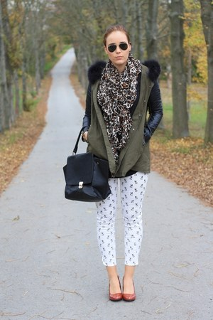 brown leopard print H&M scarf - tawny noname shoes