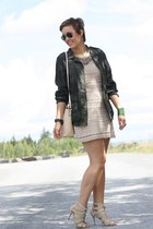 eggshell crochet Zara dress - army green camouflage Kookai jacket - eggshell bag