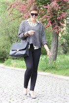 black bag - charcoal gray Zara sweater - ivory blouse - black pants