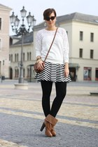 cut out Chicwish sweater - H&M boots - Primark bag - stripped Primark skirt