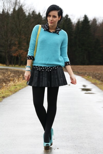 sky blue sweater - light yellow New Yorker bag - black leather Primark skirt