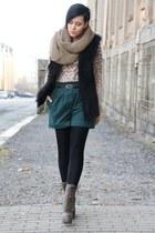 forest green Primark shorts - light brown Lundberg boots - light brown scarf