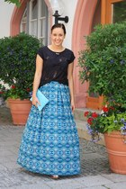 sky blue maxi skirt Forever 21 skirt - black laser cut Primark shirt