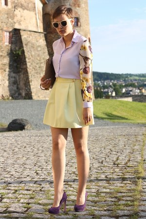 light purple blouse - brown Hallhuber bag - deep purple Primark heels