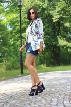 floral romwe blazer - denim shorts Only shorts - OASAP heels - Zara top