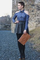 navy blouse - burnt orange bag - black Primark skirt