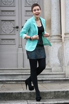 light blue Primark blazer - navy skirt - black Primark heels