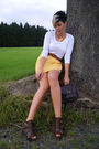 Yellow-h-m-skirt-white-street-one-t-shirt-brown-primark-bag-brown-unknown-