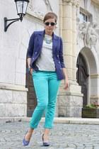 blue Primark heels - navy H&M blazer - silver Zara shirt