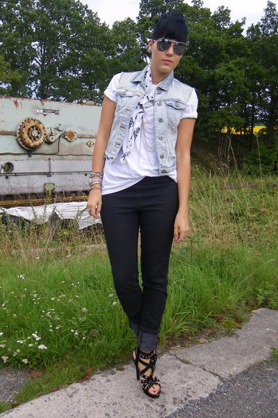 blue Primark vest - black Primark shoes - white vintage shirt