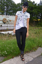 blue Primark vest - black Primark shoes - white vintage shirt