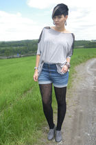 blue H&M shorts - gray Topshop shirt - gray H&M shoes - black Deichmann tights
