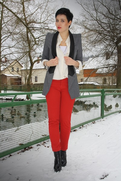 black catwalk booties boots - gray ohmyfrock Blazer blazer - red zara pants pant