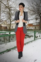 black catwalk booties boots - gray ohmyfrock Blazer blazer - red zara pants pant