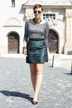 teal brocade skirt - black stripes Promod shirt - black pointed heels