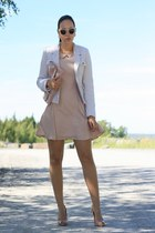 light pink Primark dress - ivory yest blazer - neutral clutch Primark bag