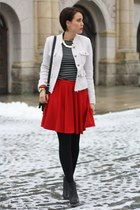 chicnova skirt - wedges MMM for H&M shoes - yest blazer - Primark shirt