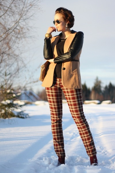 plaid vintage pants - leather sleeves ohmyfrock jacket - Primark shirt