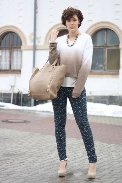ombre yest sweater - Hallhuber bag - spotted Primark pants - Zara pumps