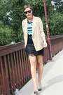 Camel-blazer-turquoise-blue-stripes-primark-shirt-black-lace-skirt