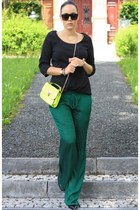 light yellow neon sammydress bag - black Vero Moda shirt - dark green Zara pants