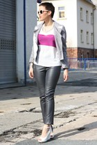 pink Primark shirt - periwinkle romwe jacket - dark gray leather 3 suisses pants
