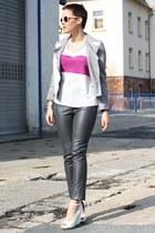 pink Primark shirt - periwinkle romwe jacket - dark gray leather 3 suisses pants