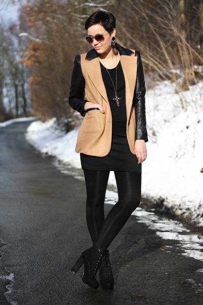 camel ohmyfrock jacket - black Primark boots - black Primark sweater