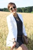 H&M blazer - Prim I am jumper - Zara flats - collar romwe necklace