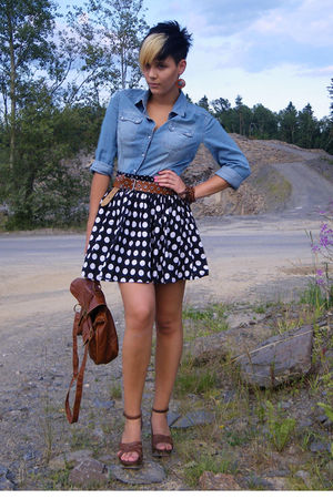 black socks - brown Deichmann shoes - blue Primark accessories - Pimkie blouse -