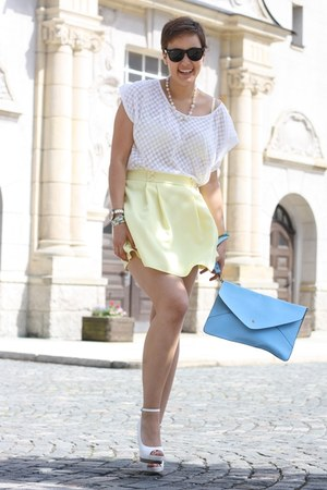 romwe bag - Pimkie shirt - Primark skirt - roberta farc wedges