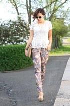eggshell lace peplum Pimkie shirt - camel clutch Hallhuber bag