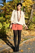 light orange AX Paris shorts - black Primark boots - ivory paperdoll sweater