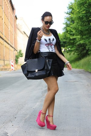 black Sheinside blazer - white likoli shirt - black leather H&M skirt