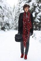leo Primark scarf - cowboy Tamaris boots - Oasis jacket - romwe bag