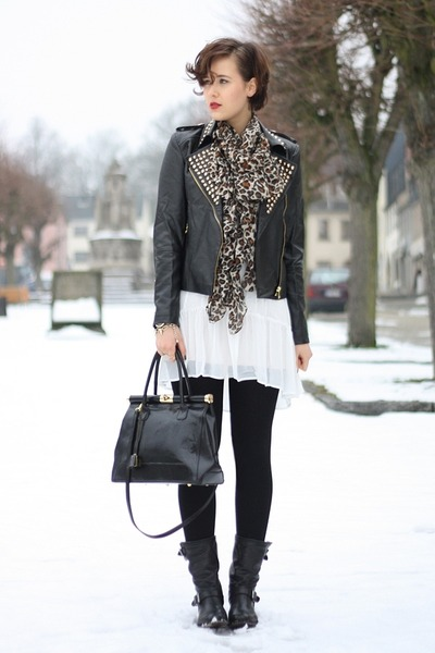 sheer yest dress - sendra boots - studded leather Sheinside jacket