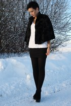 black buffalo wedges shoes - black vintage velvet cape blazer - white hm Top top